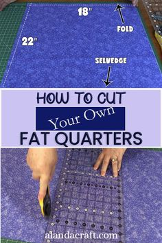 Learn how to cut your own fat quarters from your yardage. Full step-by-step written and video tutorial. Quilting For Beginners, Quilting Tips, Quilting Tutorials, Craft Tutorials, Sewing Tutorials, Dress Tutorials, Video Tutorials, Quilting Projects, Small Sewing Projects