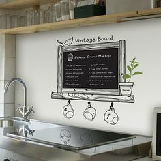 vintage board blackboard  Nature Vinyl Wall Paper Decal Art Sticker Q447