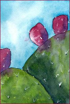 Noble Nopales. 4 x 6 watercolor on Arches 140 lb. cold pressed paper. © 2016…