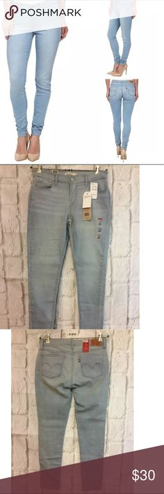 """New Levis 710 super skinny jeans. Soft light wash New Levis 710 super skinny jeans. Soft light wash with advanced stretch. Size: 31 x 28 Actual Waist: 31"""" Mid Rise: Rise: 9"""" Leg opening: 5"""" Retail: $54.50 Check back often. We will be listing several new name brand apparel items at up to 60% off! Levi's Jeans Skinny"""