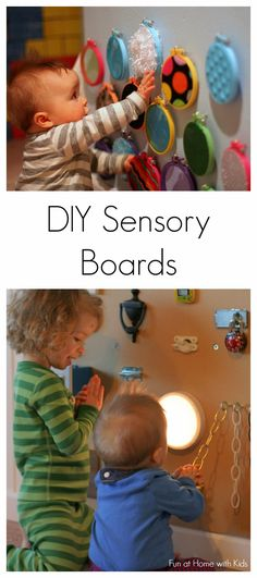 Three different DIY sensory boards along with ideas for how to include older siblings from Fun at Home with Kids - Very Montessori! Baby Sensory Board, Sensory Wall, Sensory Boards, Diy Sensory Toys For Babies, Baby Sensory Play, Freetime Activities, Infant Activities, Activities For Kids, Toddler Fun