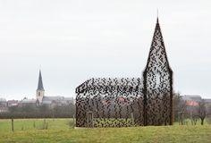 A Church That Seems to Dissolve into the Landscape. Architects: Gijs Van Vaerenbergh  Location: Looz, Limburg, Belgium {photo  by© Filip Dujardin}