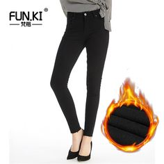 d0d6e4ebbc3 Click Image to Buy  FUNKI Autumn Winter Women Jeans with High Waist Warm  Skinny Black Jeans Female Denim Pencil Pants Stretch Jean Femme Trousers     Find ...