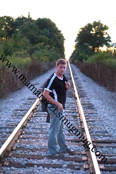 Male Pose - railroad tracks - senior pictures