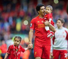 Luis Suarez on #LFC's lap of honour.