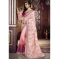Buy Vendorvilla - Designer Amaira Pink Embroidery Georgette Saree With Blouse online, Latest Vendorvilla - Designer Amaira Pink…
