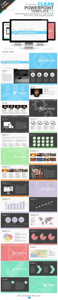 Gstudio Clean Powerpoint Template V2  #GraphicRiver         VDO Preview (Sample Blue Style):          PowerPoint template is make for PowerPoint version 2003 & 2007+ The template use for presentation creative,business,portfolio or corporate ETC. Features :   30 Creative slides 2 style black & white  7 Color (blue,orange,red(rose),green,dark,teal,purple)  ppt,pptx PowerPoint version 2003 & 2007+  odp, Open Document for OpenOffice Impress.  Font use (free font + linkdownload) :   nexa…