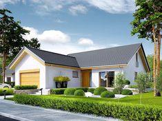 Projekt domu Simon energo plus - koszt budowy 239 tys. 100 M2, Modern Farmhouse Exterior, Dream House Plans, Home Fashion, Villa, New Homes, Floor Plans, House Design, Cabin