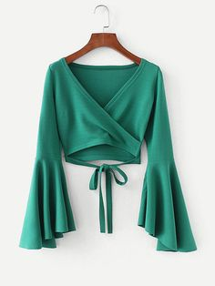 To find out about the Bell Sleeve Knotted Hem Surplice Blouse at SHEIN, part of our latest Blouses ready to shop online today! Girls Fashion Clothes, Teen Fashion Outfits, Girl Fashion, Pretty Outfits, Cool Outfits, Casual Outfits, Stylish Dress Designs, Stylish Dresses, Stitching Dresses