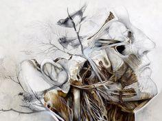 nunzio paci: The wind that sculpts your veins / Il vento che scolpisce le tue vene Nunzio Paci, Animal Drawings, Art Drawings, Art Du Monde, Street Art, Unique Paintings, Oil Paintings, Graffiti, Anatomy Art