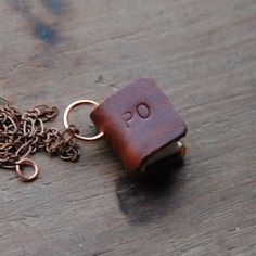 Book Necklace Small Brown Personalized Custom by PegandAwl on Etsy, $42.00
