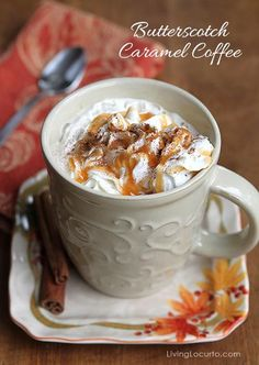 Butterscotch Caramel Coffee Recipe with Coffee Bar Free Party Printables. Perfect for a Holiday Party! LivingLocurto.com