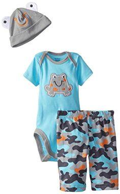 Gerber Baby-Boys Newborn 3 Piece Boy Sets Camo Frog Bodysuit Cap and Pant, Gray, 6-9 Months $8