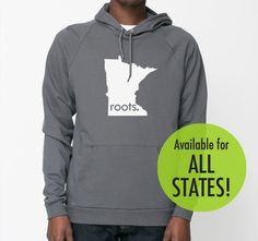 All States Roots or Made American Apparel Pullover Hoodie - Unisex Size S M L XL Truffle for New Jersey OR Kentucky - $39.00