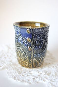 Mug+in+Cobalt+Blue+and+Golden+Brown+Textured+With+by+WindfallArts,+$32.00