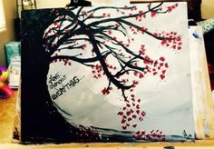 Love changes everything Acrylic red flowers tree