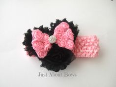 Minnie Mouse Inspired Shabby Headband - $9  www.facebook.com/justaboutbows