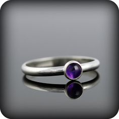 Amethyst ring  recycled sterling silver ring with door junedesigns