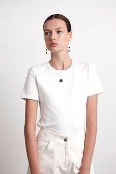 Fitted Short Sleeve Round Neck T-Shirt - White Well Made Clothes featuring Marama jewellery