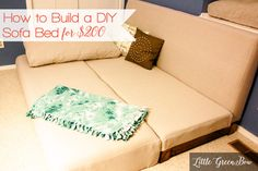 How to Build a DIY Couch that Converts to a Bed for $200. Learn how at LittleGreenBow.com