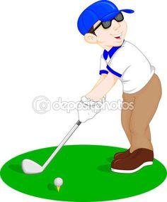 Vector ilustración de niño de dibujos animados golf player