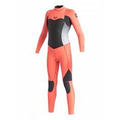 334681fda6 Roxy women wetsuit syncro LFS 4 3 back zip steamer - Black Tropical pink