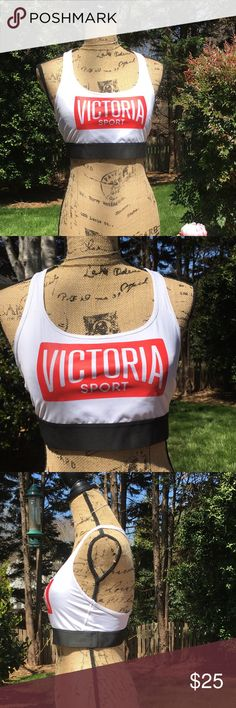 Victoria secret sports bra Victoria secret sports bra size XL! Excellent shape never worn, white with Victoria sport on front with red detail! From smoke free home! Thank you for shopping my closet & have a wonderful day Victoria's Secret Intimates & Sleepwear Bras