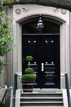 Back Bay Boston / Black Lacquer Doorway / David Fuller Photo. TheFullerView