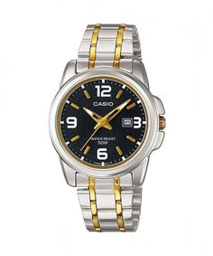 Casio Women's LTP1314SG-1AV Silver Stainless-Steel Quartz Watch with Black Dial * Check out the image by visiting the link.