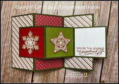 Stampin Up Christmas, Christmas Greetings, Christmas Cards, Christmas Ideas, Fancy Fold Cards, Folded Cards, Gingerbread Icing, Card Making Tutorials, Bee Design