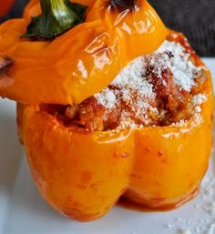 Stuffed Peppers with Tomato Basil Cream Sauce | howsweeteats.com