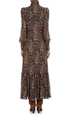 Saint Laurent Crepe Long-Sleeve Maxi Dress - Long - Barneys.com