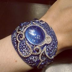 Spectacular cuff bracelet crafted in titanium with moonstones, sapphires and diamonds by MichelleOng