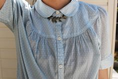 pale blue blouse with peter pan collar. trace of a modern southern belle.
