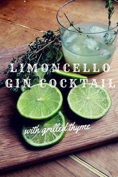Limoncello Gin Cocktail with grilled thyme. A great cocktail/ long drink for summer. Try Albergian gin in this cocktail! Party Drinks, Cocktail Drinks, Fun Drinks, Alcoholic Drinks, Beverages, Gin Cocktail Recipes, Drinks Alcohol, Cocktail Ideas, Craft Cocktails