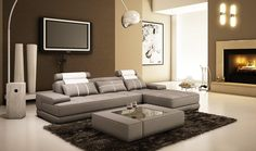 Divani Casa 5005A Mini Modern Grey And White Bonded Leather Sectional Sofa W/ Coffee Table