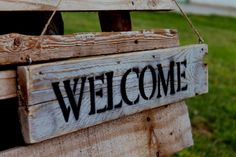 Welcome home sign  Made from recycle wood Gray color  Vintage Recycled