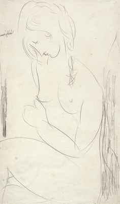 Amedeo Modigliani (Italian, 1884 - 1920) Nu assis, 1917