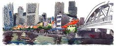 Urban Sketchers: Singapore River beside Elgin Bridge