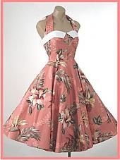 1950s Style Beige Burgundy Floral Hawaiian Halter Full Skirt Dress