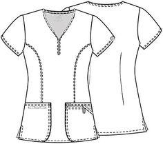 Rabotna-medicinska-tunika-46600a-3 Scrubs Outfit, Scrubs Uniform, Dental Uniforms, Maternity Scrubs, Cherokee Scrubs, Medical Scrubs, Fashion Design Sketches, Scrub Tops, Princess Seam