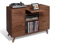 The Open/Close Record Cabinet: inspired by vintage stereo consoles, updated for today. Drawers for vinyl LP records, plus space for analog & digital components. LP Storage and audio console in one. Record Player Furniture, Record Player Console, Record Shelf, Record Stand, Vinyl Record Storage, Lp Storage, Stereo Cabinet, Record Cabinet, Vintage Stereo Console