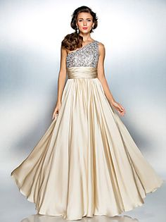TS Couture Prom / Military Ball / Formal Evening Dress - Champagne Plus Sizes / Petite Sheath/Column One Shoulder Floor-length Satin Chiffon
