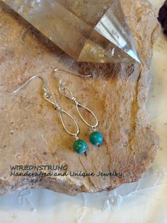 Sterling Silver and Magnesite Earrings Gemstone by WirednStrung