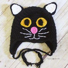 Crochet Gato Negro Sombrero