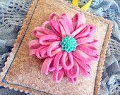 Wool felt lavender bag with pink felt flower brooch