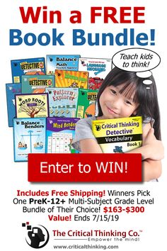 Win a Free Book Bundle from CriticalThinking.com! (A $163-$300 Value!) Includes Free Shipping! The Critical Thinking Co. publishes award-winning PreK-12  educational books & apps that teach critical and creative thinking, reading, math, science, and social studies.