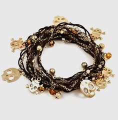 Wrap Skull Bracelet in Brown/Gold or by designsBYgermaine on Etsy