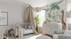 This modern Scandinavian Nursery design brings together neutral colors, a fun accent wallpaper and canopies. This crib is meant to grow with your little one as it converts into a toddler bed. Nursery Rocker, Leather Coffee Table, Cool Kids Bedrooms, Changing Table Dresser, Scandinavian Nursery, Bedroom Themes, Bedroom Ideas, Nursery Design, Pottery Barn Kids