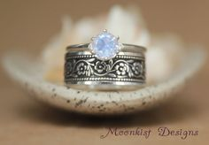 Lavender Moon Quartz Solitaire with Daisy Chain Band in